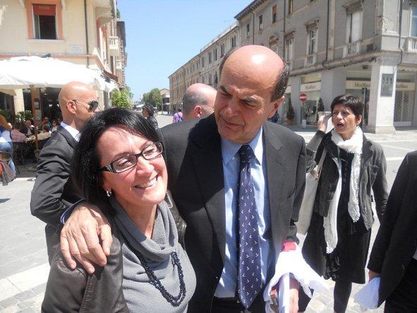 Emma Petitti a Rimini con il Segretario nazionale del suo partito l'On. Bersani
