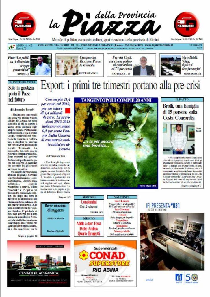 prima pagina La Piazza Febbraio 2012