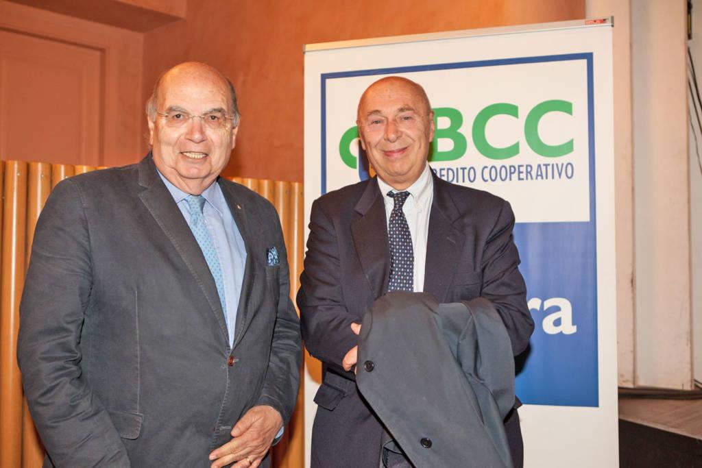 Lo storico Paolo Mieli con il presidente della Bcc di Gradara Fausto Caldari