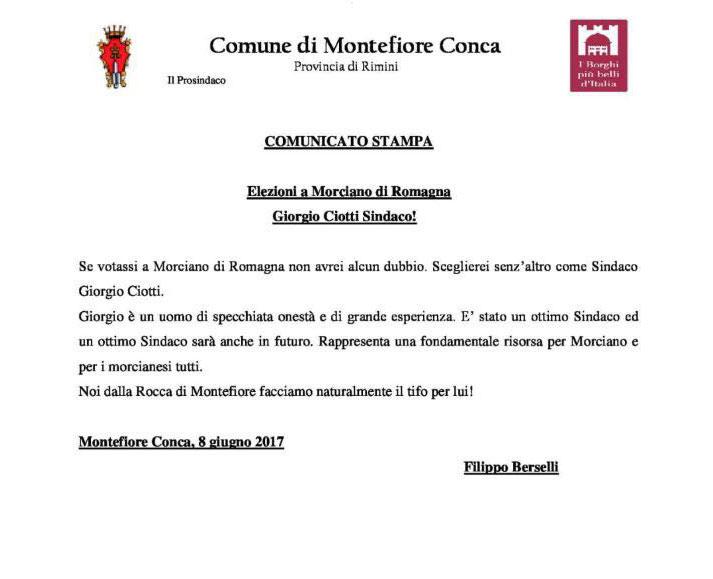 La carta intestata del Comune di Montefiore